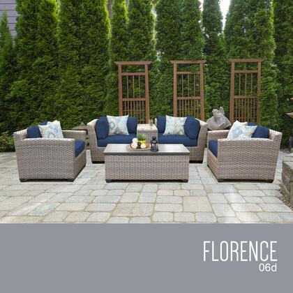 FLORENCE-06d-NAVY Florence 6 Piece Outdoor Wicker Patio Furniture Set 06d with 2 Covers: Grey and