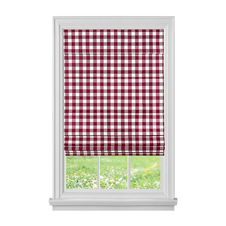 Buffalo Check Cordless Light-Filtering Roman Shade, One Size , Red