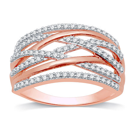 1/2 CT. T.W. Genuine White Diamond 14K Rose Gold Over Silver Band, 6 , No Color Family