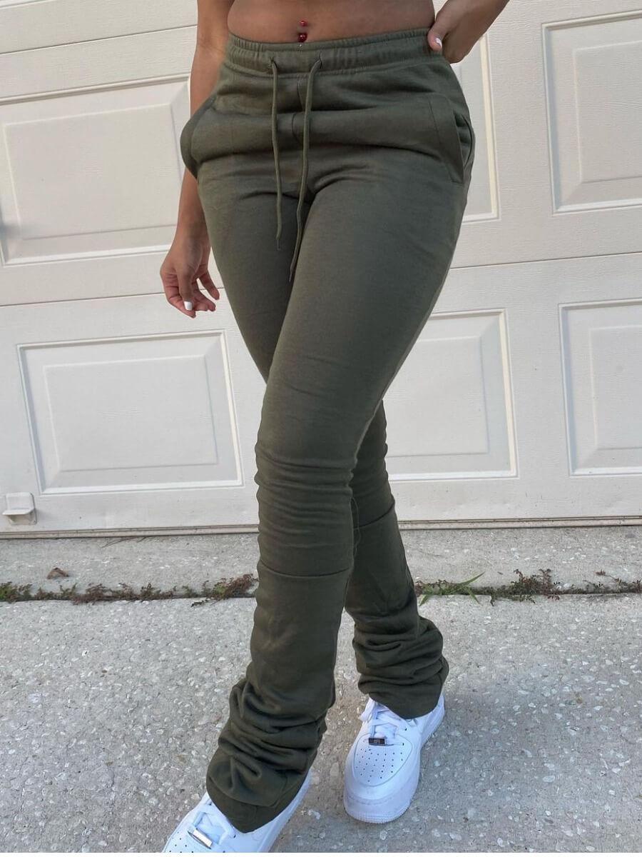 LW Lovely Street Elastic Waist Drawstring Design Army Green Pants