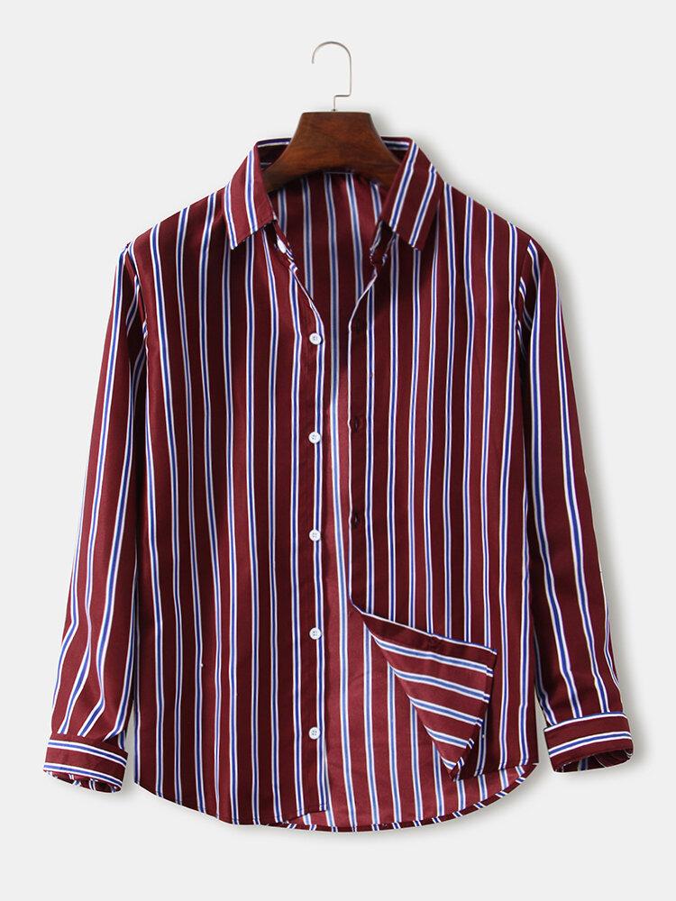 Mens Vertical Stripes Print Lapel Button Up Long Sleeve Curved Hem Shirts
