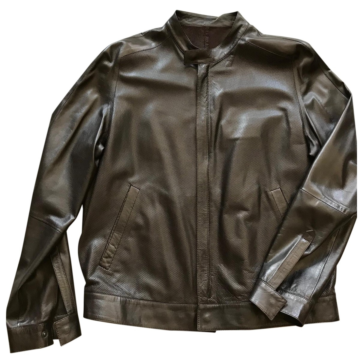 Salvatore Ferragamo \N Brown Leather jacket  for Men 50 IT