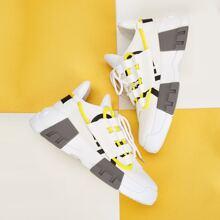 Maenner Sneakers mit Band vorn und klobigem Absatz