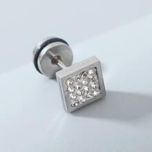 Pendientes de hombres geometricos con diamante de imitacion