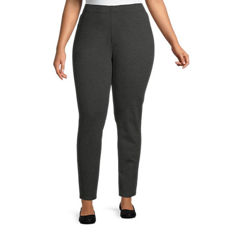 St. John's Bay-Plus Womens Straight Pull-On Pants, 0x , Gray