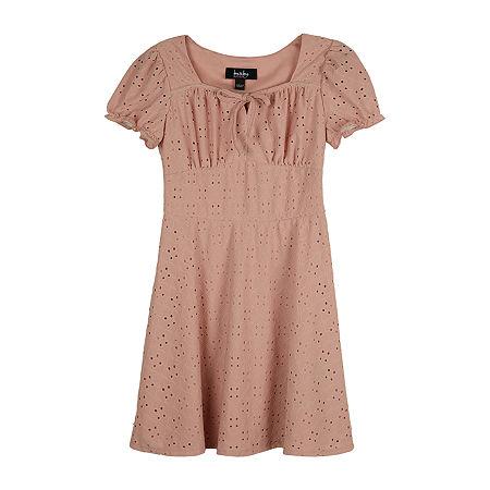 by&by Big Girls Short Sleeve Shift Dress, Medium (10-12) , Pink