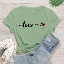 T-Shirt mit Buchstaben und Herzen Muster