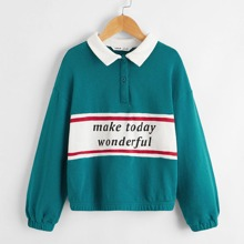 Girls Slogan Graphic Polo Collar Sweatshirt