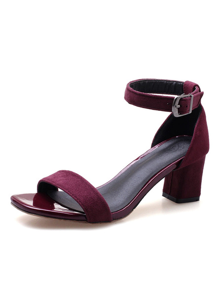 Milanoo Mid Heel Sandals Womens Open Toe Ankle Strap Chunky Heel Sandals