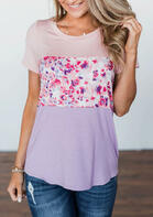 Floral Splicing Color Block T-Shirt Tee without Necklace - Multicolor