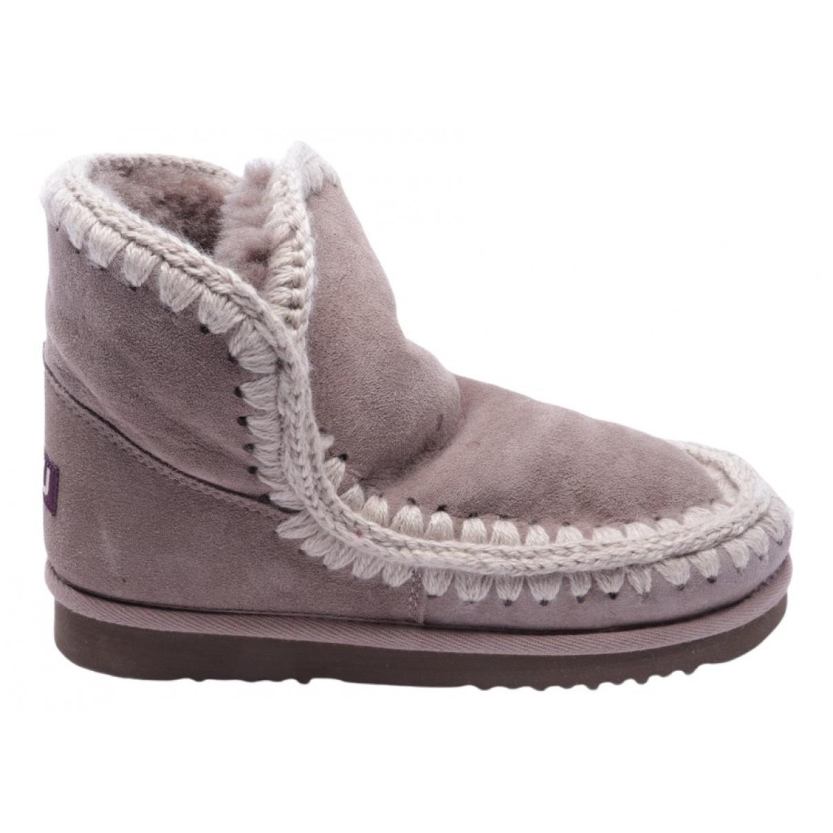 Mou - Boots   pour femme en cuir - beige