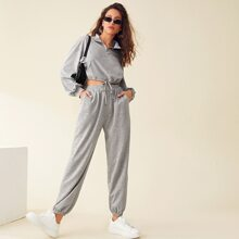 Zip Half Placket Drawstring Hem Pullover & Sweatpants Set