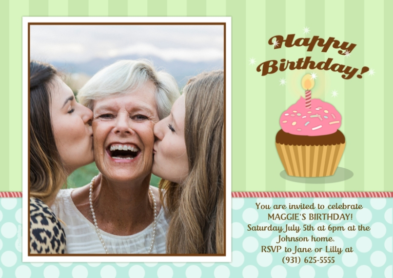 Birthday Party Invites 5x7 Cards, Premium Cardstock 120lb with Scalloped Corners, Card & Stationery -Happy Birthday!