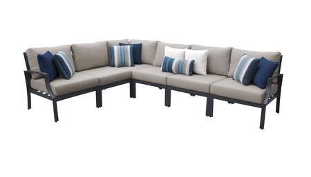 Lexington LEXINGTON-06v-BEIGE 6-Piece Aluminum Patio Set 06v with 1 Right Arm Chair  1 Left Arm Chair  1 Corner Chair and 3 Armless Chairs - Ash and