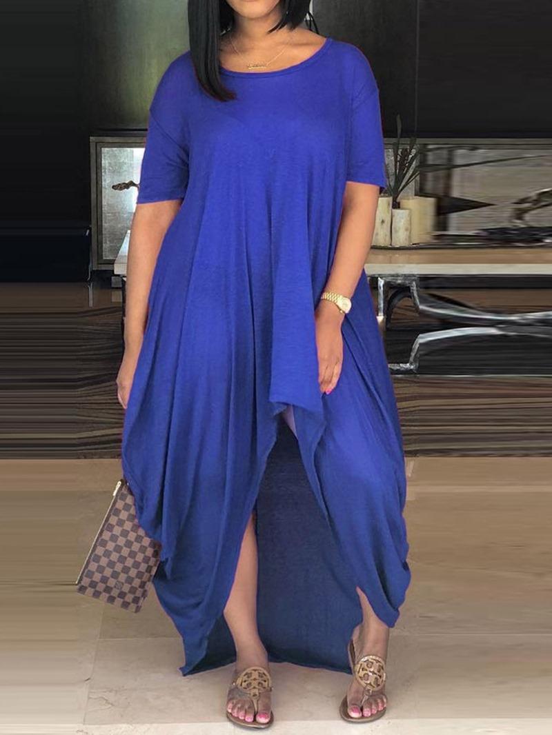 Ericdress Short Sleeve Round Neck Asymmetric Plain Regular Dress