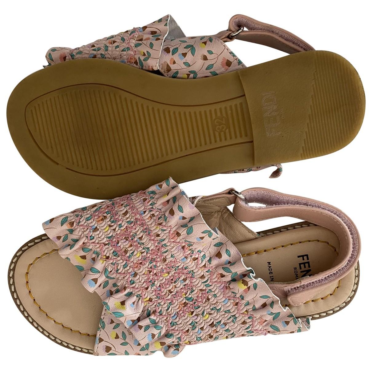 Fendi N Pink Leather Sandals for Kids 32 FR