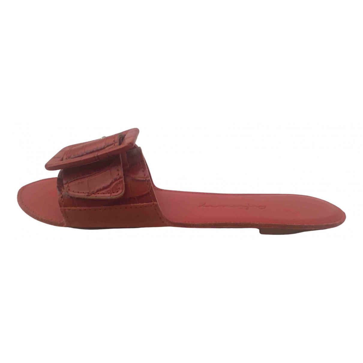Non Signe / Unsigned \N Sandalen in  Rot Leder