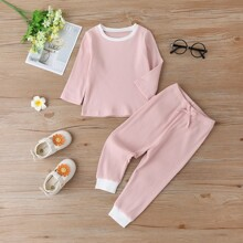 Baby Girl Rib-Knit Tee With Knot Pants