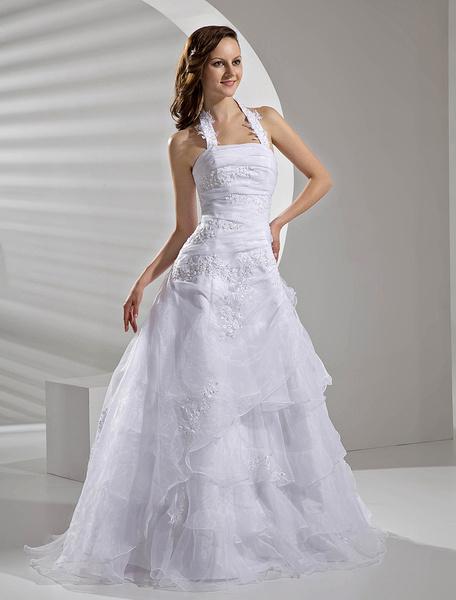 Milanoo Vestido de novia de organdi con listones y multicapas