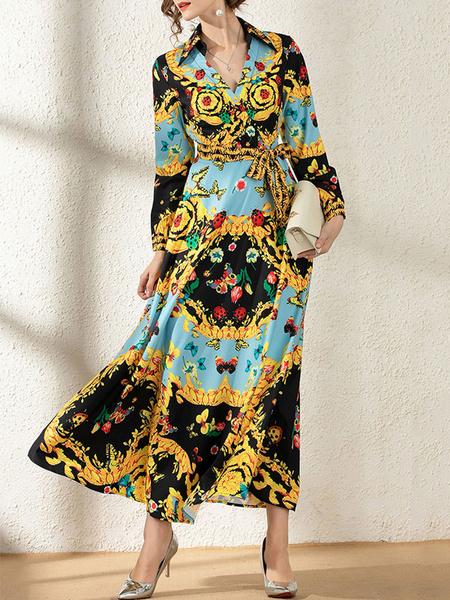 Milanoo Vestido largo Azul celeste claro con manga larga de poliester Vestidos con botones con estampado High-Low con cuello en V estilo clasico