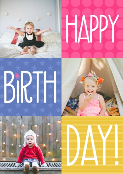 Birthday Party Invites Flat Glossy Photo Paper Cards with Envelopes, 5x7, Card & Stationery -Bright Color Box Birthday by Well Wishes