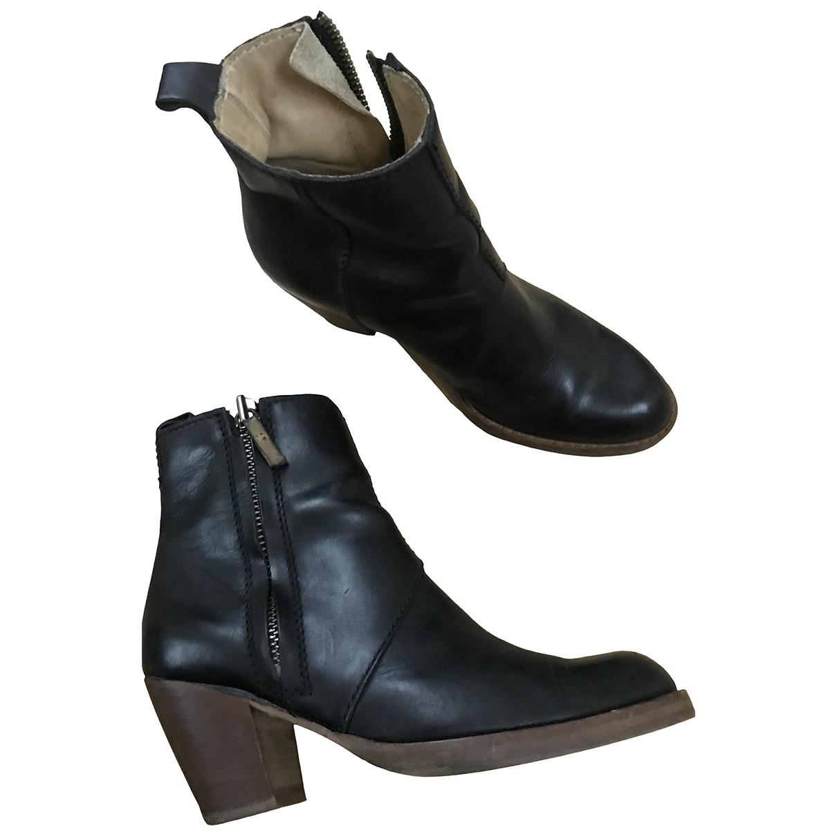 Acne Studios Pistol Black Leather Ankle boots for Women 38 EU