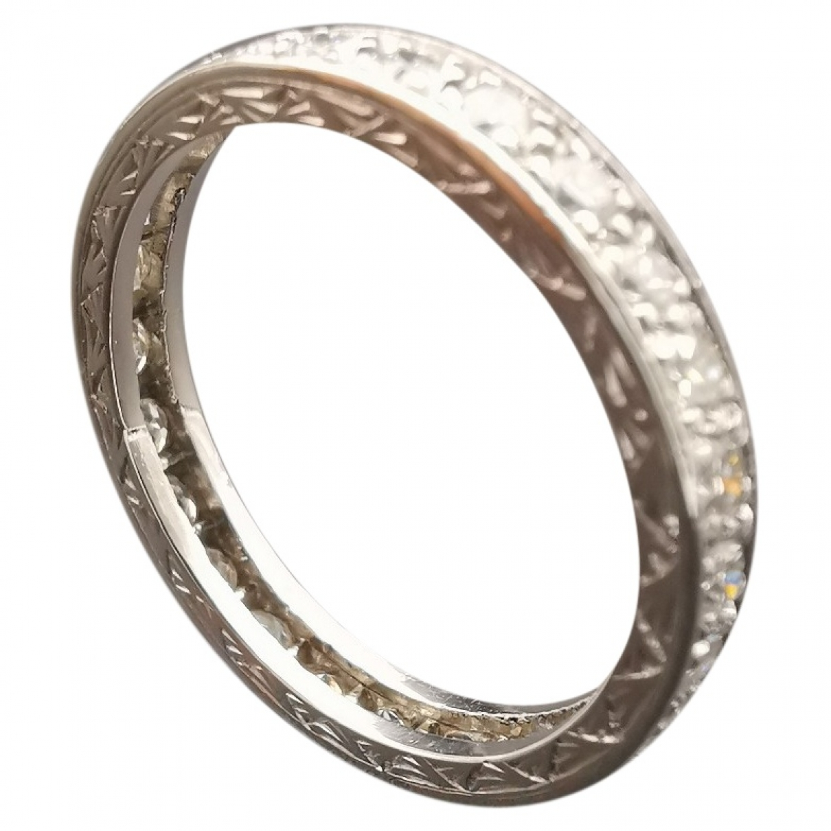 Non Signe / Unsigned \N Ring in  Grau Weissgold