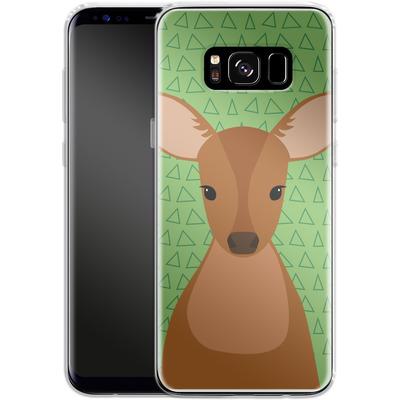 Samsung Galaxy S8 Silikon Handyhuelle - Deer on Green von caseable Designs