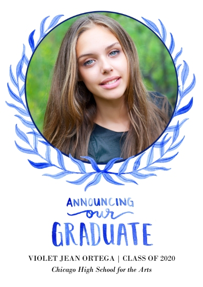 Graduation Announcements Flat Glossy Photo Paper Cards with Envelopes, 5x7, Card & Stationery -GraduationLaurels