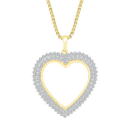 Womens 1 CT. T.W. Genuine White Diamond 10K Gold Heart Pendant, One Size , No Color Family