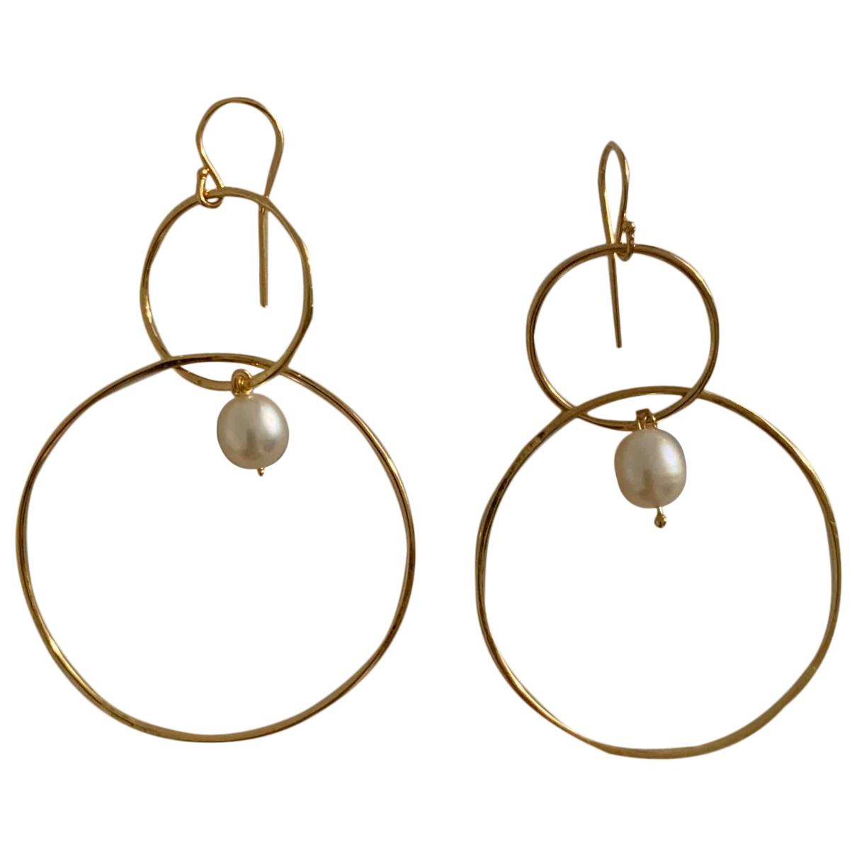 - Boucles doreilles Nacre pour femme en perles - dore