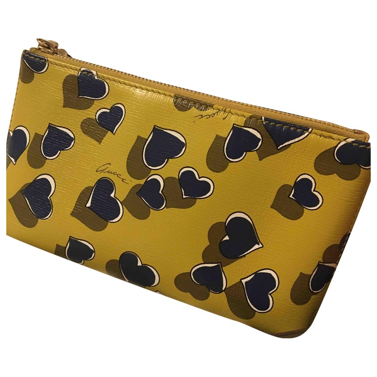 Gucci - Petite maroquinerie   pour femme en cuir - jaune