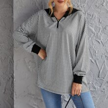 Half Zip Drop Shoulder Houndstooth Hoodie