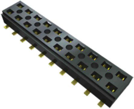 Samtec , CLT, CLT 2mm Pitch 10 Way 2 Row Vertical PCB Socket, Surface Mount, Solder Termination (56)