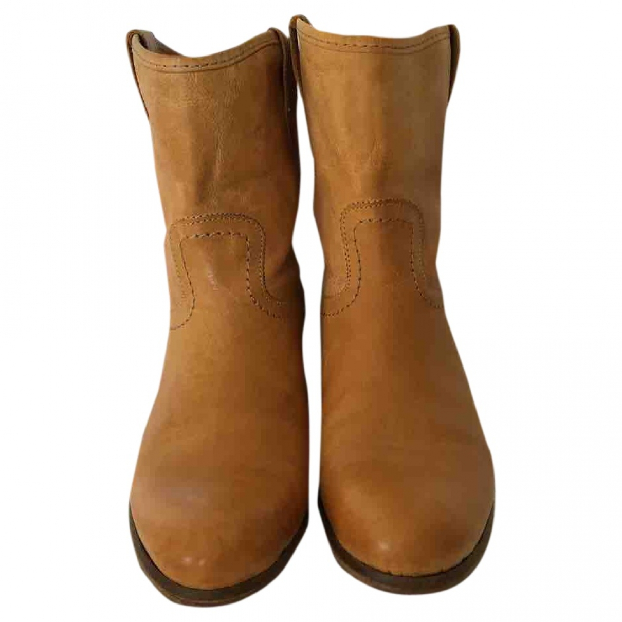 Non Signé / Unsigned \N Yellow Leather Boots for Women 37 EU
