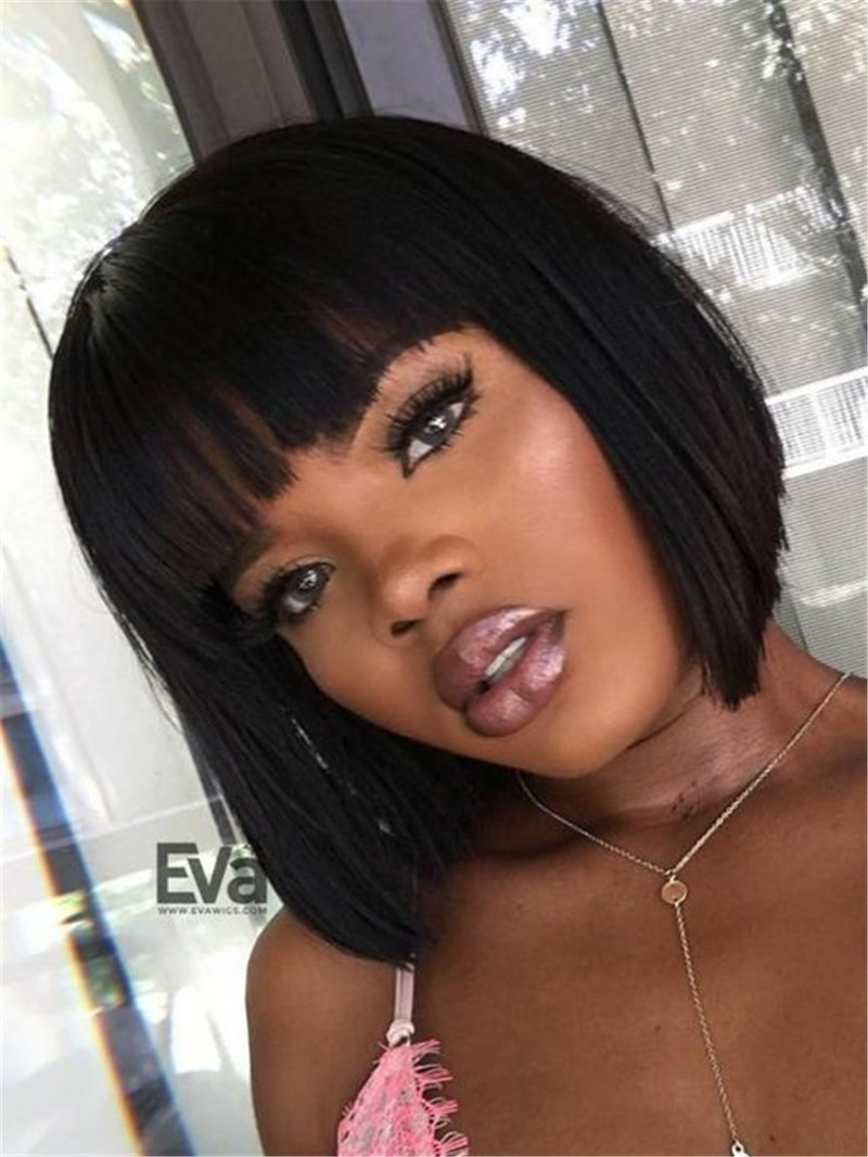 Ericdress African American Short Straight Hait With Full-Bang Capless Synthetic Wig