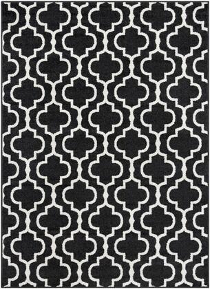 Seville SEV-2317 53 x 73 Rectangle Cottage Rug in Black