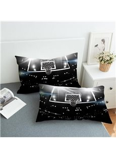 Basketball in Water And Fire 3D Dark 2-Piece Polyester Pillowcase