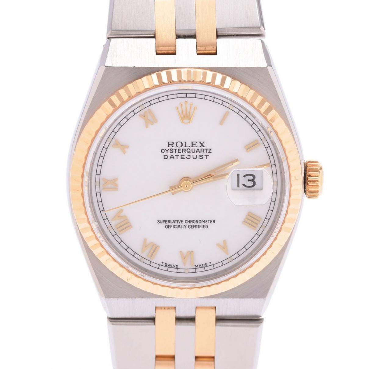 Rolex - Montre Oyster Quartz pour homme en or et acier - argente