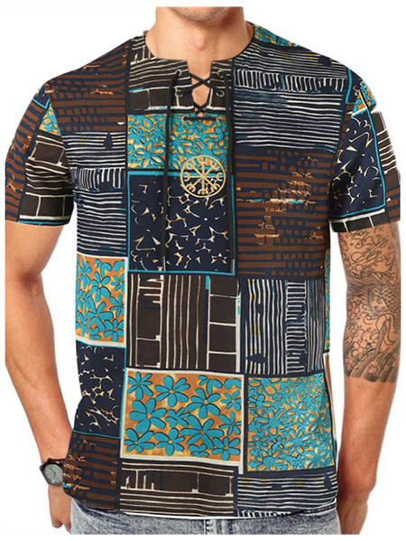 Yoins Men Summer Casual Cotton Soft Tribal Print T-Shirt
