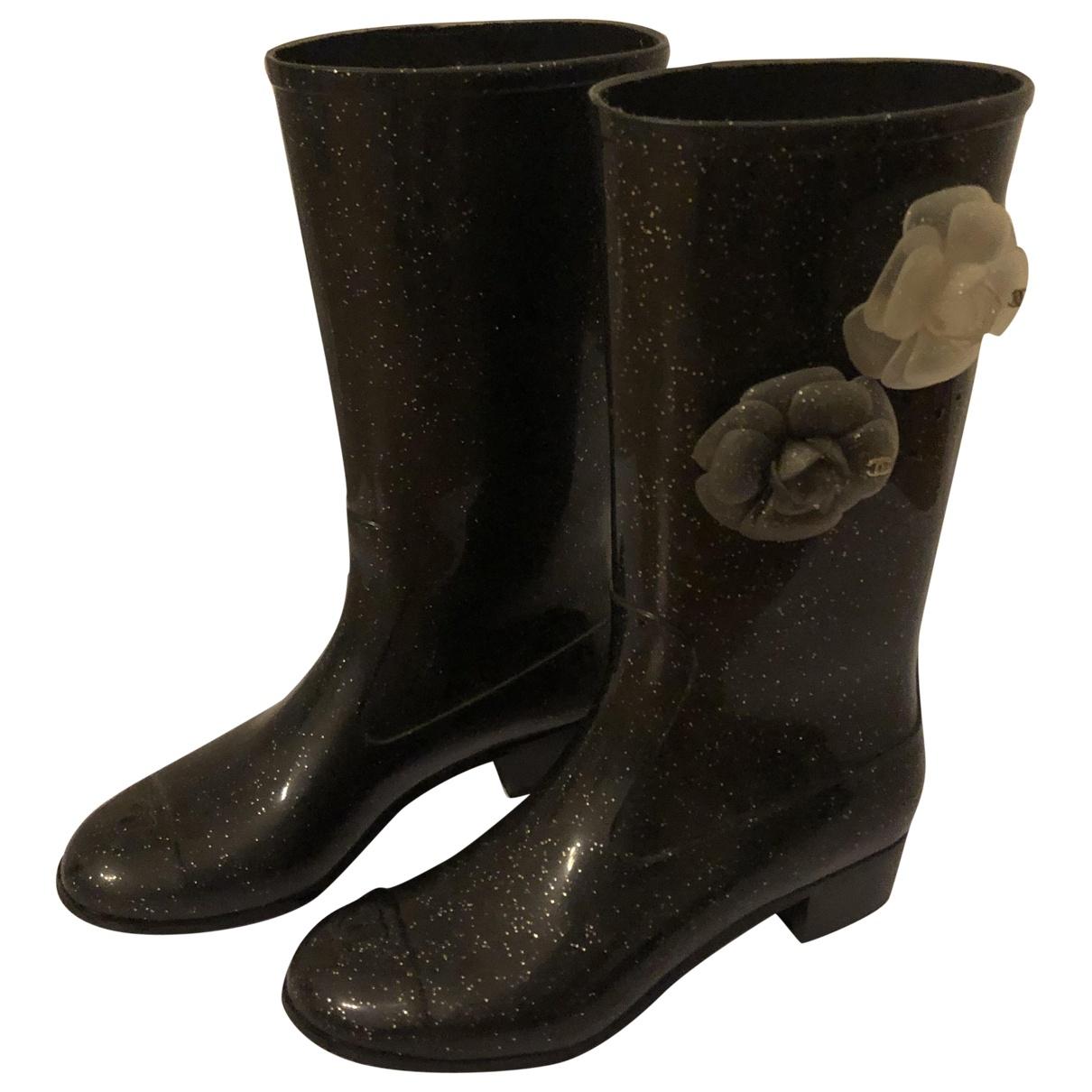 Chanel \N Black Rubber Boots for Women 38 EU