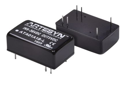 Artesyn Embedded Technologies ATA 6W Isolated DC-DC Converter Through Hole, Voltage in 18 ? 75 V dc, Voltage out