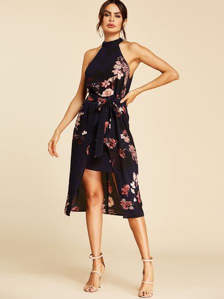 Yoins Navy Self-tie Design Floral Print Choker Neck Sleeveless Dress