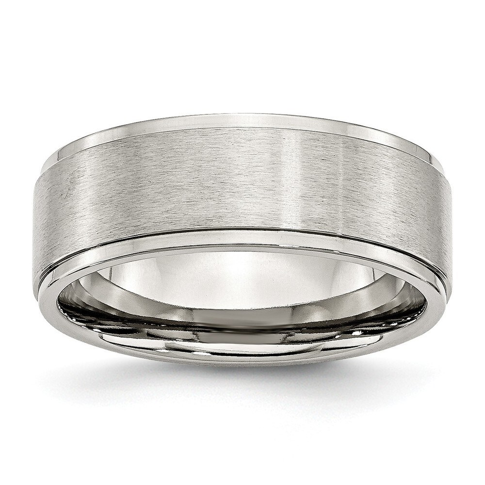 Chisel Stainless Steel Ridged Edge 8mm Brushed and Polished Band (10.5)