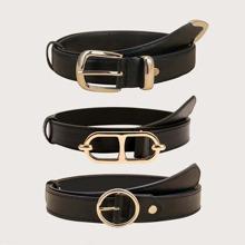 3pcs Plus Metal Buckle Belt