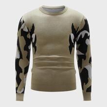Men Graphic Pattern Crew Neck Sweater