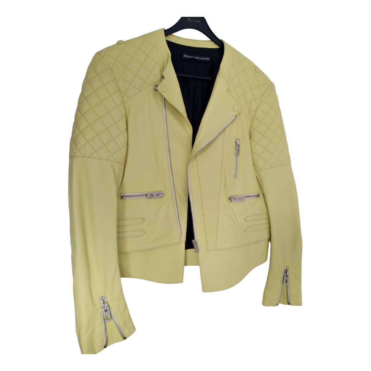 Balenciaga \N Lederjacke in  Gelb Leder