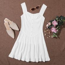 Buttoned Front Ruffle Hem Dress
