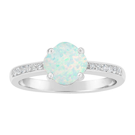 Womens Lab Created White Opal Sterling Silver Halo Cocktail Ring, 8 , No Color Family