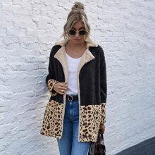 Contrast Leopard Open Front Teddy Coat
